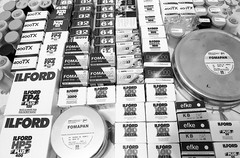 Part of my treasure (anechoic_photos) Tags: film expired delta100 bw developing id11 canoneos1n lot boxes