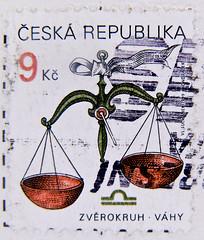great stamp Czechia Ceska 9Kc zodiac sign libra (Sternzeichen Waage, signe du zodiaque, balance, segno zodiacale,  [,   , signo do zodaco, bilancia, o libriano, Waga) potovn znmky esko postzegels Tsjechi sellos Checa postimerkit (thx for sending stamps :) stampolina) Tags: czechia ceska tschechien   tjekkiet tsjechi tchquie  csehorszg ceca  ehija ekija tsjekkia czechy cehia   esko checa tjeckien ek stamps selyo stamp  briefmarke briefmarken  postzegel zegel zegels    znaczki  frimrker frimrken frimerker   bollo francobollo francobolli bolli postes timbres sello sellos selo selos raztka  blyegek markica antspaudai  pullar tem perangko timbru libra waage waga balance bilancia libriano  zodiacsign zodiac sternzeichen