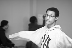 Off Guard (Brotha Kristufar) Tags: youth students monochrome monochromatic blackandwhite closeup wideangle fun activity nyc ny bronx lehmancollege college highschool school learn learning lesson lessons future intellect intelligence smart class classroom indoors indoor explore explored canon 50mm flash views courage city collaborate team teamwork culture cultured art artists artistry