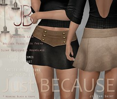 Just BECAUSE Jillian Skirt - at N21! (Just BECAUSE_SL) Tags: jb just because secondlife sl sexy slink maitreya belleza mesh skirt miniskirt leather suede buttons panties n21 hud legs high waist short