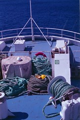 ferry to Gozo, august 2014 (Tefilo de Sales) Tags: malta island ferry sea water meditarrean sky summer blue film fuji fujifilm fujixtra400 nikkormatel nikkormat nikon nikkor analog analogic 50mm 35mm erasmus trip expired boat ropes deck