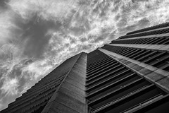 Barbican (Spannarama) Tags: barbican london uk tower towerblock lookingup blackandwhite blueskies clouds balconies