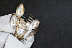 Forks and spoons on the tablecloth (Olga_Z1982) Tags: silverware spoon fork silver vintage antique german pattern old object place kitchen classic background set utensil gray grey equipment metal color wood tea stone rough tablecloth linen