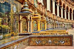 Sevilla: Plaza Espaa (gerard eder) Tags: architecture architektur arquitectura world travel reise viajes europa europe spain espaa spanien andaluca andalucia andalusien sevilla plazadeespaa tiles fliesen kacheln azulejos mosaik mosaico mosaic