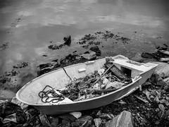 """Renovation object?"" (Terje Helberg Photography) Tags: sea water boat bw rocks black white monochrome abandoned rope coastal maritim weed rowboat haganes renovationobject"