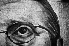 The Vision (igo.rs) Tags: wall street urban art graffiti eye man glasses black white