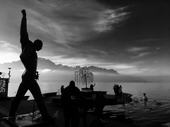Rock & alps (anatoliv73) Tags: montreux suisse alpes alps swiss switzerland blanc noir black white lac lake leman marche noel statue freddie mercury
