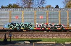 Syhis/Vers2 (quiet-silence) Tags: graffiti graff freight fr8 train railroad railcar art syhis vers vers2 rts autorack kcs ttgx980153
