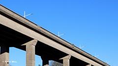 In the sky (patrick_milan) Tags: sky ciel blue bleu geometric minimalism roof bridge