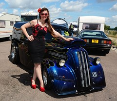 Holly_7365 (Fast an' Bulbous) Tags: ford pop popular fordson van outlawanglia oldtimer fast speed power drag strip race track santa pod pits england dragstalgia people outdoor motorsport pinup girl woman hot sexy hotty dress skirt wiggle long brunette hair seamed stockings highheels stilettos red shoes blue sky summer sunglasses