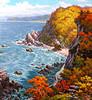 Le haut lieu historique de Yombun en automne - Ri Yong Bok (nokoredstar) Tags: aquarelle peinture coréedunord pyongyang paysage broderie