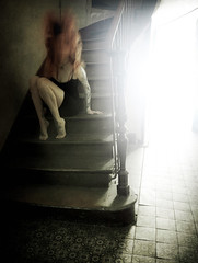 WEEK 5 (Iris Syzlack) Tags: selfportrait selfpotrait blur starway light redhair