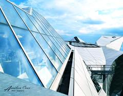 Sur un nuage de fer (aurelcaux) Tags: modern cityscape city lyon grey poutre motif lignes infrastructure gomtrique diagonale abstrait btiment structure urban architecture abstract windows sky blue
