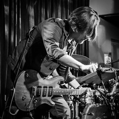 Multitasking (tim.perdue) Tags: multitasking wet darlings band concert performance music musician guitar black white bw monochrome sequencer sample loop electronics casa nueva athens ohio bar