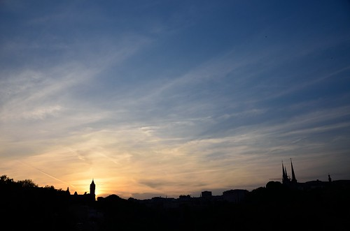 Luxembourg skyline contre-jour from Pont Viaduc