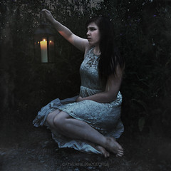 Untitled (CatherineMacgeorge) Tags: light white selfportrait lamp girl self dark hope sadness alone sad darkness lace thistle depression lantern concept conceptual thorn recovery darkhair selfie whitedress lacedress whitelace