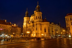 Old town Square, Prague (explored) (Photeelover) Tags: blue building church architecture night interesting cityscape prague clear cobble explore czechrepublic capitalregion explored photeelover worldinhd