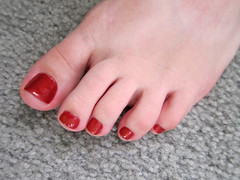 Pedicure in red (pr0digie) Tags: red liz foot toes nails pedicure nailpolish