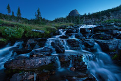 Twilight in Glacier National Park (chris lazzery) Tags: mountains landscape waterfall twilight montana bluehour glaciernationalpark loganpass canonef14mmf28lii 5dmarkii