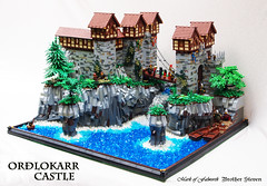 Orðlokarr Castle (Mark of Falworth) Tags: cliff castle water landscape waterfall rocks iron lego scene creation builder moc