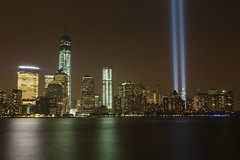 9/11 Tribute Lights 2013 (Jemlnlx) Tags: world new york city nyc 3 ny tower skyline canon eos lights freedom mark manhattan iii 911 nj center 11 september newport jersey 5d tribute trade eleventh 2013
