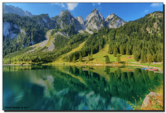 /\/\/\/\ (Fraggle Red) Tags: vacation lake mountains green clouds austria sterreich rocks honeymoon hiking turquoise hike canonef1740mmf4lusm obersterreich gosau upperaustria gosaukamm singleexposure vorderergosausee gosaulakes gosauseen adobelightroom5