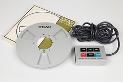 Teac A-6300 Blank Reel RE-1002 and Remote Control RC-140 (picturesofthingsilike) Tags: vintage control blank remote accessories recorder 1976 reeltoreel reel teac