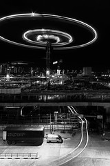 Construction (GohKC) Tags: city longexposure light bw white black building architecture blackwhite construction nikon crane trails sigma lighttrails 1020 d90 vision:night=096