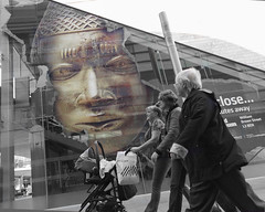 In step (Bev Goodwin) Tags: street urban liverpool walking candid citylife advertisement selectivecolour lowanglephotography liverpoolmuseums sonyslta65v