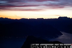 Pilatus Fullmoon and Sunrise Hike (stefanrechsteiner) Tags: city panorama moon lake night sunrise canon lights schweiz switzerland view suisse full pilatus lucerne rigi 50d canoneos50d canon50d