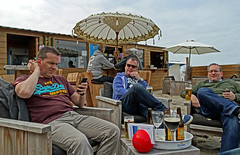 Lunch time beers on the beach at Blakenberge (3rd Day) (markdbaynham) Tags: camera city bridge venice beach belgium drink sony north brugge historic bruges superzoom bruggen blakenberge hx300