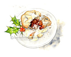 Festive Treats: Christmas Mince Pie with Cream (Amy Holliday) Tags: christmas party food cakes illustration festive pie yummy berries decorative cream tasty plate holly homemade bakery pastry mince mincepie