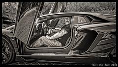 One of those Bucket List Moments (Billy-Fish) Tags: portrait blackandwhite selfportrait monochrome car self blackwhite bucket dubai gulf desert uae middleeast emirates list lamborghini supercar selfie billyfish aventador