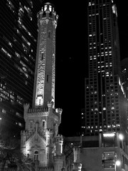 Old Water Tower (bavan.prashant) Tags: blackandwhite bw chicago cold castle night hc110 clear magnificentmile oldwatertower orwo watertwoer dilb nikkonf100 orwon74 fallwinter2013 fall2013 6min40sec