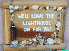 LeaveTheLighthouseOnNew (mcshots) Tags: california wood usa shells lighthouse art sign seashells handmade stock bamboo socal handpainted signage mcshots southbay losangelescounty