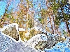 trees & boulders in winter (jgagnon63@yahoo.com) Tags: trees winter up michigan february upperpeninsula winterland snowscape superphoto paintingeffect dickinsoncounty norwaymi wintertrails creativefilters treesandboulders