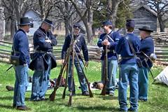 Soldiers Taking a Break 3S (Greg Riekens) Tags: history minnesota nikon war union historic civilwar guns uniforms reenactors thelanding shakopee d7000