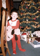 Jay gets a Pound Puppy (the queen of subtle) Tags: christmas family jay michigan archive 1985 poundpuppy menominee scancafe