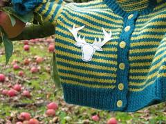 Stag head cardigan (Heart felt) Tags: winter clothing recycled felt orchard hugo knitted heartfelt appleorchard woollens