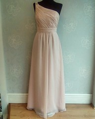 Blush chiffon bridesmaids dress