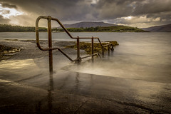Faith is taking the first step even when you don't see the whole staircase. (Ian Emerson) Tags: loch stairs steps water hoya ndx400 handrail mountains hills landscape scotland outdoor canon 1855mm clouds