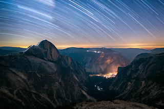 The Cable Route of Half Dome at Night, Wide Edition