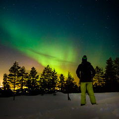 Aurora borealis in Lapland (Zeeyolq Photography) Tags: adventure alone auroraborealis finland landscape lapland man nature night northernlight sky snow stars rovaniemi laponie finlande