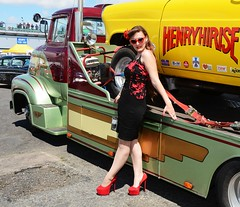 Holly_7338 (Fast an' Bulbous) Tags: girl woman sexy hot hotty seamed silk stockings dress skirt wiggle long brunette hair high heels stilettos car vehicle automobile model people outdoor santa pod dragstalgia sunglasses legs beauty babe chick pose england july summer nylons