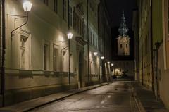 Kapitelgasse, Salzburg (Rich3012) Tags: salzburg austria kapitelgasse night university stiftskirche sankt saint st peter peters church tower lights