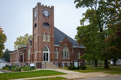 the methodist church (contemplative imaging) Tags: autumn october nikon american walworthcounty day midwestern 2016 fall 20161015 red small methodist dslr sharon photography architecture d7000 photo 32 foggy ciwisc20161015d7000 cloudy architectural brick wi overcast rural tower town steeple landscape brown structure country church building wisconsin digital ronzack america saturday fog usa midwest contemplativeimaging cool