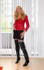 Jacket and boots. (sabine57) Tags: crossdressing transvestism crossdress crossdresser cd tgirl tranny transgender transvestite tv travestie drag boots highheels overkneeboots dress jacket redleatherjacket