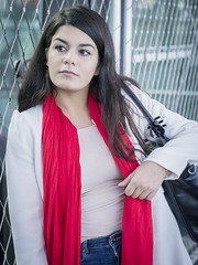 Nathalie, Amsterdam 2016: Patiently waiting (mdiepraam) Tags: nathalie amsterdam 2016 centraal station platform portrait busterminal pretty beautiful elegant dutch brunette girl naturalglamour scarf coat jeans denim