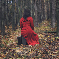 A new chapter (misa.stahlova) Tags: 365 365project coneptual selfportrait fineart portraiture outdoor wood forest reddress red suitcases newchapter canon 50mm photoshop manipulation expansion passion square