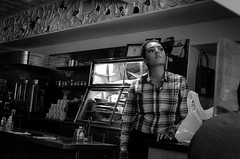 dreaming (Eric Baggett) Tags: leicaxvario leica candidportrait candidpeople newmexico santafe bnw blackandwhitephotography blackandwhite bwphotos beautiful restaurant diner woman reallife noiretblanc